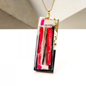 Srebrny pozłacany naszyjnik damski z dużą prostokątną zawieszką czerwono brązową  - biżuteria artystyczna ręcznie malowana 1