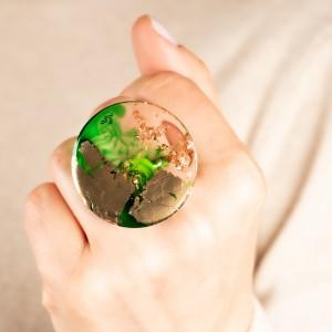 Biżuteria do jeansów, zielony pierścionek. 1