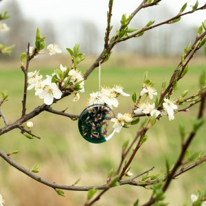 Zielone kolczyki, wiosna z kwiatami.1