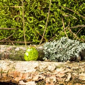Naszyjnik delikatny z zielonym mchem.1