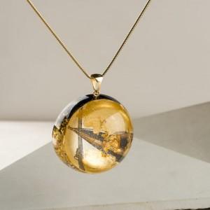 Oryginalna biżuteria artystyczna, złoty naszyjnik na urodziny, naszyjnik ręcznie malowany z dużą złotą półkulą 2