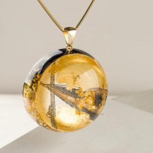 Oryginalna biżuteria artystyczna, złoty naszyjnik na urodziny, naszyjnik ręcznie malowany z dużą złotą półkulą 1