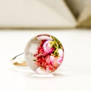 Regulowany pierścionek z kwiatami.1