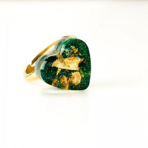 Pierścionek z sercem, zielone oczko.1