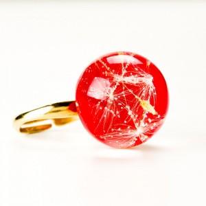 Pierścionek czerwony, srebro złocone i dmuchawce.1