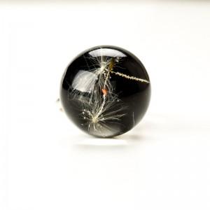 Pierścionek czarny, srebro i dmuchawiec.1