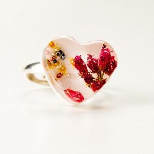 Serce z kwiatami, pierścionek regulowany.1