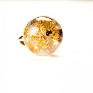 Złocony srebrny pierścionek, płatki złota.1