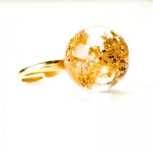 Złocony srebrny pierścionek, płatki złota.