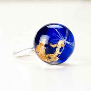 Granatowe oczko, pierścionek srebrny.1