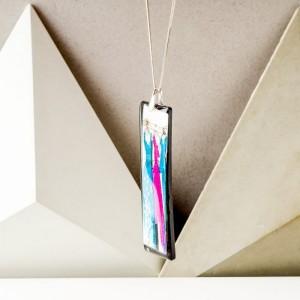 Naszyjnik ręcznie malowany - biżuteria autorska personalizowana