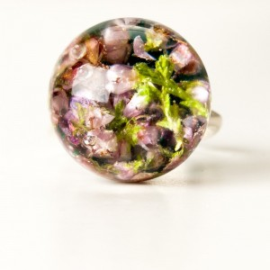 Pierścionek naturalne kwiaty, srebrna biżuteria.