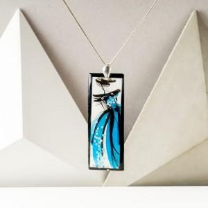 Autorski ręcznie malowany naszyjnik z turkusową zawieszką – personalizowana biżuteria handmade 2