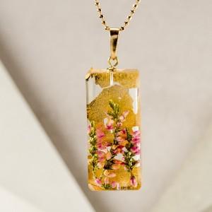 Naszyjnik prostokąt z kwiatami, złocona biżuteria.1