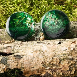 Kolczyki zielone koła, złocone srebro.1