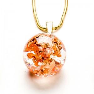 Komplet biżuterii złoconej z płatkami.1