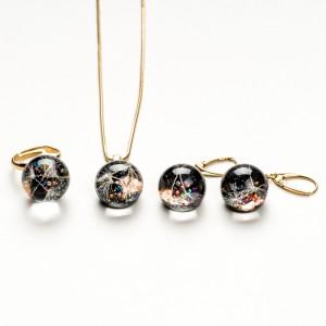 Komplet biżuterii złoconej z dmuchawcami.