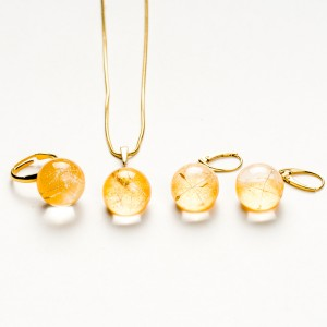 Komplet biżuterii srebro złocone - ślub.