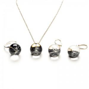 Komplet biżuterii srebrnej do czarnej sukienki.