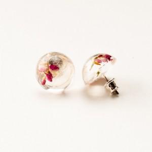 Kolczyki wkrętki z kwiatami i dmuchawcem.2