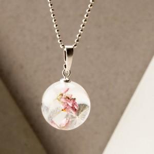 Naszyjnik srebrny z prawdziwymi kwiatami i dmuchawcem.1