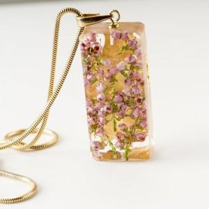 Biżuteria autorska z kwiatami wrzosu- biżuteria srebrna pozłacana 24 k złotem.1