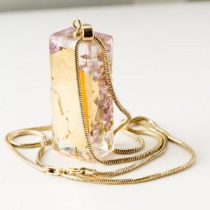 Biżuteria autorska z kwiatami wrzosu- biżuteria srebrna pozłacana 24 k złotem