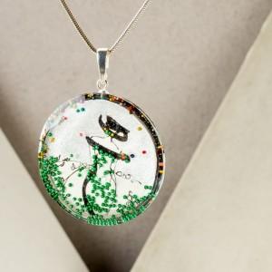 Artystyczna biżuteria, srebrna zawieszka z grafiką ręcznie malowaną przez artystę.1