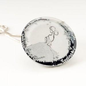 Autorska biżuteria, naszyjniki damskie z grafiką malowaną ręcznie.