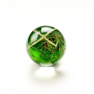 Pierścionek z dużym zielonym oczkiem z prawdziwym dmuchawcem w żywicy  2