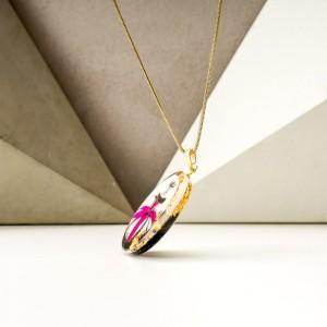 Biżuteria malowana- naszyjnik różowo złoty