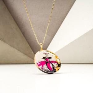 Biżuteria malowana- naszyjnik różowo złoty 2