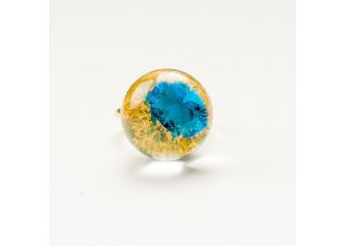 Artystyczny pierścionek pozłacany z turkusową cyrkonią w kształcie diamentu  2
