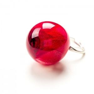 Pierścionek srebro z czerwoną różą, biżuteria z różą.