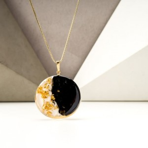 Biżuteria malowana- naszyjnik pozłacany