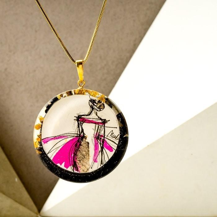 Biżuteria malowana- naszyjnik dla dziewczyny
