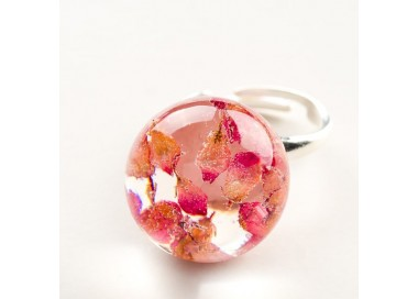 Pierścionek artystyczny z różowym oczkiem z prawdziwymi wrzosami 1