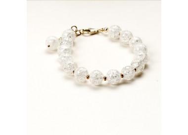 Bransoletka artystyczna damska srebrna z białych koralików kryształów górskich 1