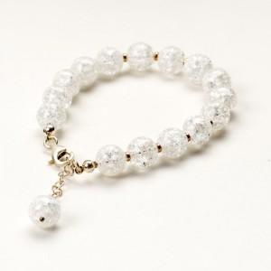 Bransoletka artystyczna damska srebrna z białych koralików kryształów górskich 2