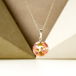 Naszyjnik srebrny, kwiaty wrzosu w naszyjniku 1