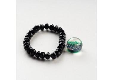 Czarna bransoletka z zieloną zawieszką z prawdziwym dmuchawcem 5