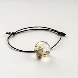 Bransoletka sznurek z prawdziwymi kwiatami 2