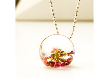 Naszyjnik srebrny, kwiaty wrzosu w naszyjniku