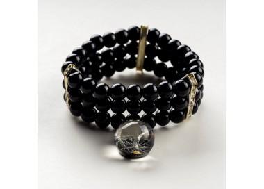 Czarna bransoletka ręcznie robiona z zawieszką z prawdziwym dmuchawcem 1
