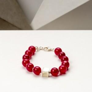Czerwona bransoletka artystyczna damska z czerwonych korali