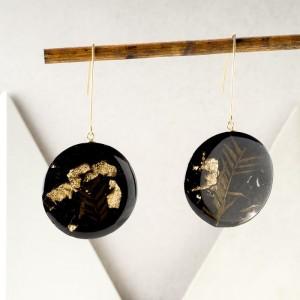 Kolczyki koła złote z roślinami 1