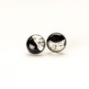 Kolczyki wkrętki biało czarne malowane