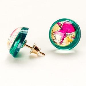 Kolczyki designerskie wkrętki ręcznie malowane