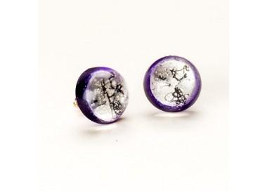 Kolczyki wkrętki fioletowe ręcznie robione