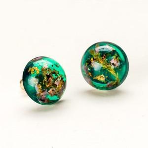 Biżuteria z żywicy Kolczyki wkrętki zielone z żywicy z wrzosami
